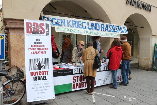 Infotisch von BDS Austria in Graz anlässlich des 67. Jahrestags der Nakba