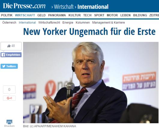 """Screenshot eines Artikels aus österreichischen Tageszeitung """"Die Presse"""" über die Schließung des Kontos von BDS Austria"""